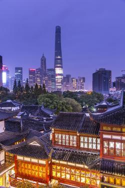 Yuyuan Gardens and Bazaar with the Shanghai Tower Behind, Old Town, Shanghai, China by Jon Arnold