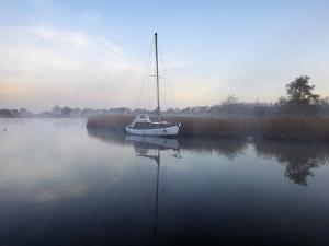 A Misty Morning in the Norfolk Broads at Horsey Mere, Norfolk, England, United Kingdom, Europe by Jon Gibbs
