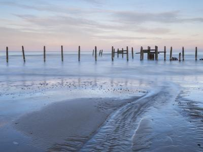 A view of the sea defences on the shoreline at Happisburgh, Norfolk, England, United Kingdom, Europ