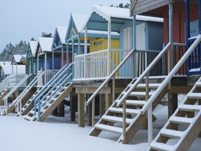 Beach Huts in the Snow at Wells Next the Sea, Norfolk, England