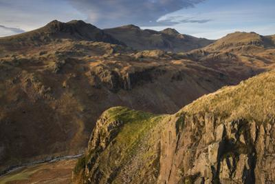 Late evening light on the Scafells from above Hardknott Fort, Lake District National Park, Cumbria,