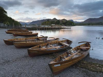 Pleasure boats on the shore at Derwentwater, Lake District National Park, Cumbria, England, United