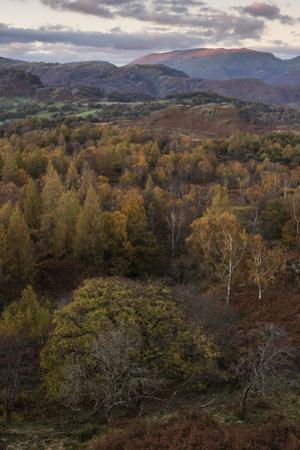 The view at twilight from Holme Fell, Lake District National Park, Cumbria, England, United Kingdom