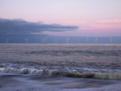 Twilight Hues in the Sky, View Towards Scroby Sands Windfarm, Great Yarmouth, Norfolk, England