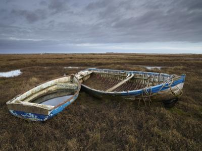 Two Old Boats on the Saltmarshes at Burnham Deepdale, Norfolk, England
