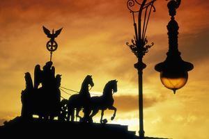 Detail of Quadriga by Johann Gottfriend Schadow atop the Brandenburg Gate in Berlin by Jon Hicks