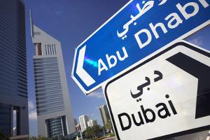 Direction Signs on Sheikh Zayed Road in Dubai by Jon Hicks