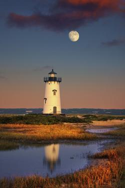 Edgartown Lighthouse at Dusk with the Moon Rising Behind by Jon Hicks