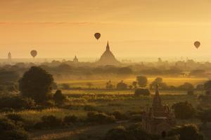 Hot Air Balloons Floating over Bagan at Dawn by Jon Hicks