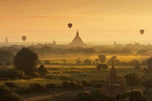Hot Air Balloons Floating over Bagan at Dawn by Jon Hicks