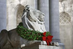 New York Public Library Lion Decorated with a Christmas Wreath during the Holidays. by Jon Hicks