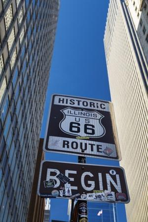 Road Sign at the Start of Route 66, Chicago, Illinois. by Jon Hicks