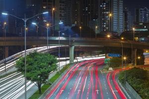 Sao Paulo Highway at Night, Brazil. by Jon Hicks
