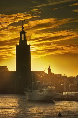 Sunset behind Stadshuset Bell Tower in Stockholm by Jon Hicks