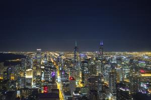The Chicago Skyline from the John Hancock Center at Night by Jon Hicks
