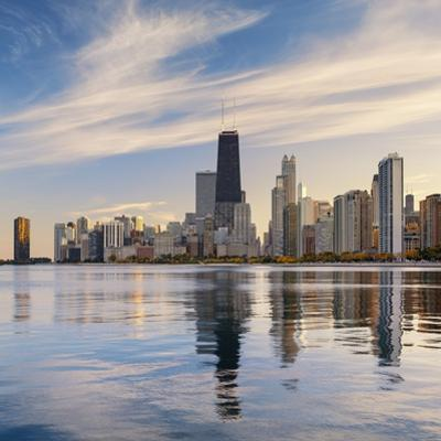 The Chicago Skyline over Lake Michigan by Jon Hicks