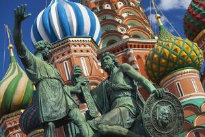 The Monument to Minin and Pozharsky in Front of St Basil's Cathedral in Red Square. by Jon Hicks