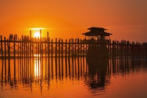 U Bein Bridge on Taungthaman at Sunset by Jon Hicks