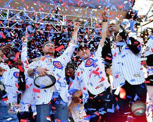 Jon Lester, Anthony Rizzo, Javier Baez w/World Series Championship Trophy at victory parade 11/4/16