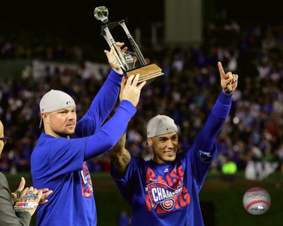 Jon Lester & Javier Baez celebrate being named Co-MVPs Game 6 of the 2016 NLCS