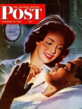 """""""Lighting His Cigarette,"""" Saturday Evening Post Cover, October 23, 1943 by Jon Whitcomb"""