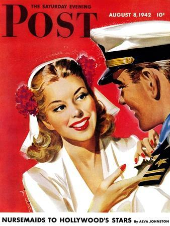 """""""Naval Officer & Woman,"""" Saturday Evening Post Cover, August 8, 1942"""