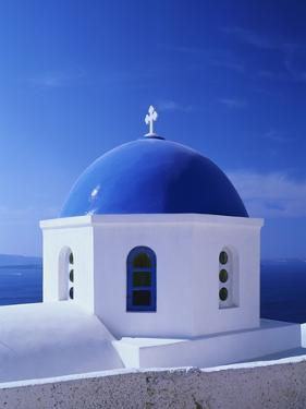 Detail of Whitewashed Church With Blue Dome by Jonathan Hicks