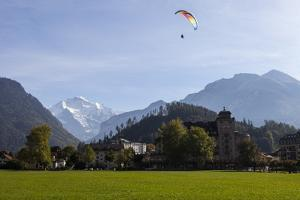 A Paraglider with a View of Jungfrau Mountain from Interlaken by Jonathan Irish