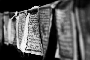 Black and White Buddhist Prayer Flags by Jonathan Irish