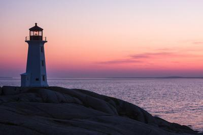 Peggy's Point Lighthouse and Rocky Coast at Dusk by Jonathan Irish