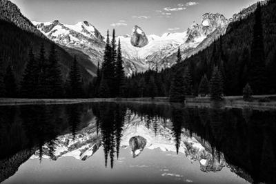 The Bugaboo Spires and Evergreen Trees Reflected in a Mountain Lake by Jonathan Irish
