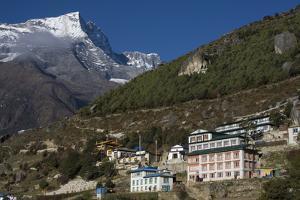 The Sherpa Village of Namche Bazaar with Kwangde Mountain in Distance by Jonathan Irish