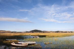 Traditional Fishing Boats Among the Reeds at Sunrise by Jonathan Irish