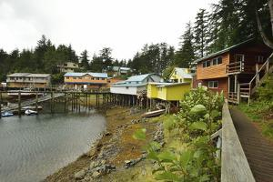 A Scenic View of the Harbor, Boardwalk and Homes Along Elfin Cove by Jonathan Kingston