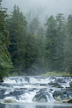 A Waterfall from Canoona Lake on Princess Royal Island into the Inside Passage by Jonathan Kingston