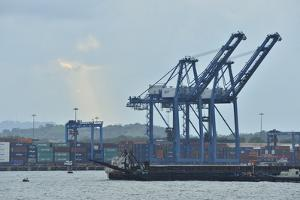 Cargo Container Cranes at a Dock on the Atlantic Side of the Panama by Jonathan Kingston