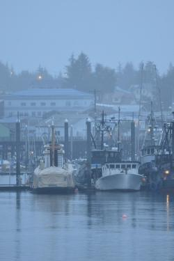 Commercial Fishing Boats Anchored in the Harbor on a Rainy Day by Jonathan Kingston