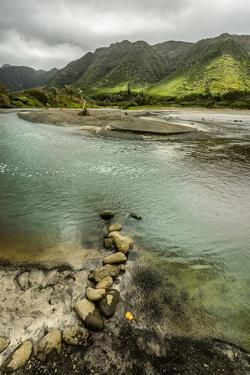 Fresh Water from Halawa Valley Empties into the Pacific Ocean at This Point on Molokai by Jonathan Kingston