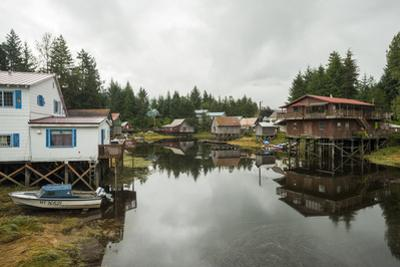 Houses Built on Stilts Rise Above a Tidal Waterway in Petersburg, Alaska