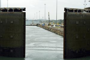 Large Steel Gates of the Gatun Locks Opening in the Panama Canal, Panama by Jonathan Kingston