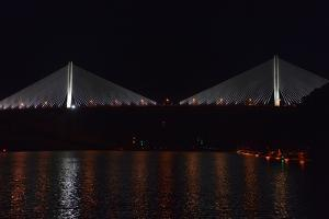 Night View of Panama's Centennial Bridge, Puente Centenario, from the Panama Canal by Jonathan Kingston