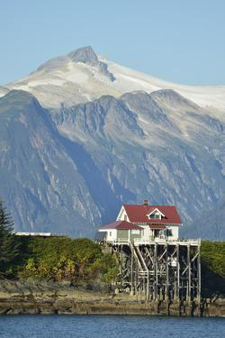 Point Retreat Lighthouse with a Snow-Capped Mountain Looming in the Near Distance by Jonathan Kingston