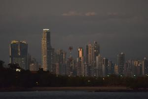 The Skyline of Panama City Catches the Last Evening Light of the Sunset by Jonathan Kingston