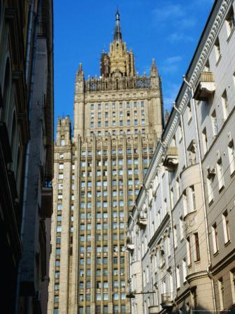 Central Tower of Foreign Affairs Ministry, Seen from Side Street Near Ulitsa Arbat, Moscow, Russia