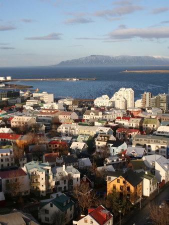 City Centre with Harbour in Background, Reykjavik, Iceland