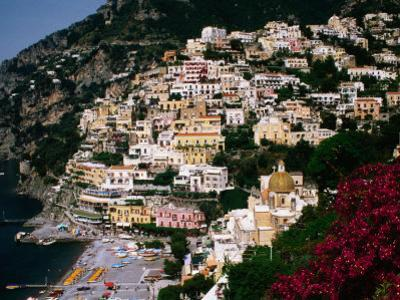 Domed Church of Santa Maria Dell'Asunta in Foreground with Village Behind, Positano, Italy