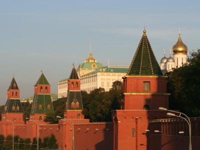 Exterior of Kremlin Towers and Great Kremlin Palace, Moscow, Russia