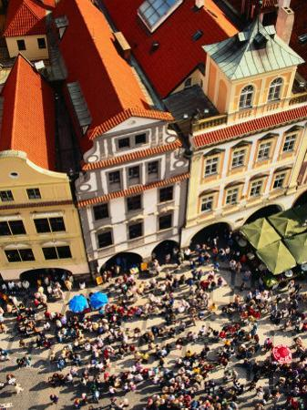 Looking Down on Crowds Outside Town Hall, Prague, Czech Republic