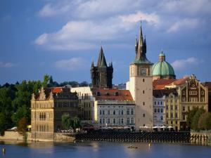Smetana Museum, Bridge Tower and Church of St. Francis Seraphinus, Prague, Czech Republic by Jonathan Smith