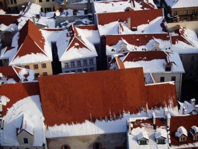 Snow on Rooftops of Old Riga Town Seen from Spire of St. John's Church, Riga, Latvia